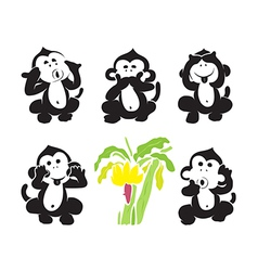 group monkeys and bananas vector image