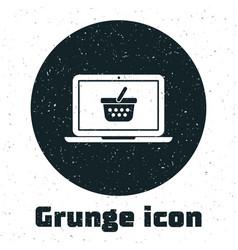 grunge shopping basket on screen laptop icon vector image