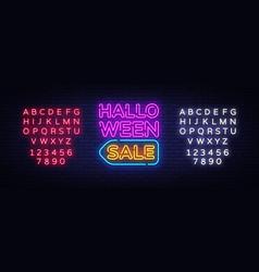 halloween sale text halloween sale neon vector image