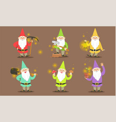happy gnomes set bearded gnomes characters in vector image