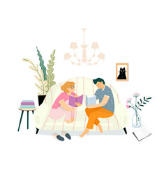 happy reading at home on couch young people vector image