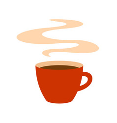 Hot red coffee cup with steam vector