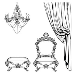 Imperial baroque furniture and decoration vector