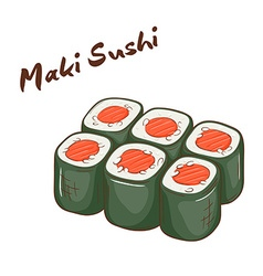 isolated cartoon hand drawn fast food Maki sushi vector image
