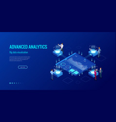 isometric big data network visualization advanced vector image