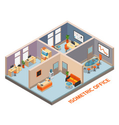 Isometric office interior composition vector