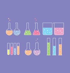 laboratory tools set collection with flat style vector image