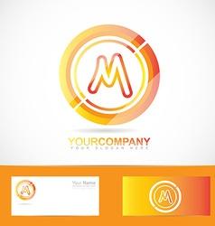 Letter M logo orange inside circle 3d vector image