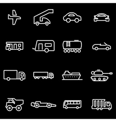 Line vehicles icon set vector
