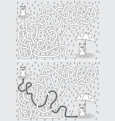 Little cat maze vector