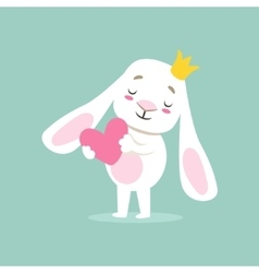 Little Girly Cute White Pet Bunny In Princess vector