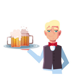 Man waiter holding tray beer glasses on white vector