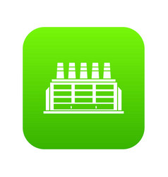 manufacturing factory building icon digital green vector image