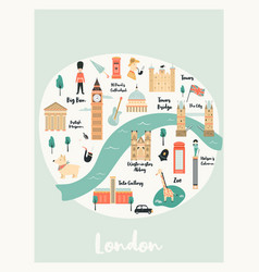 map london with landmarks symbols vector image