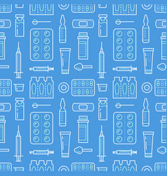 Medical drugstore seamless pattern medicament vector