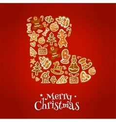 Merry Christmas winter boot of gingerbread cookies vector image vector image