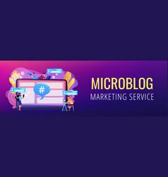 Microblog platform concept banner header vector