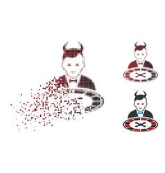 Moving pixelated halftone devil roulette dealer vector