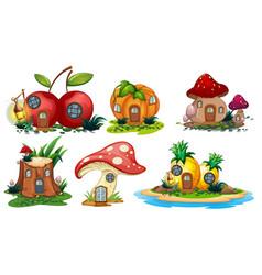 Mushroom and fruit houses vector