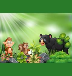 Nature scene with wild animals cartoon vector