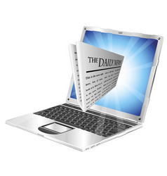 newspaper laptop concept vector image