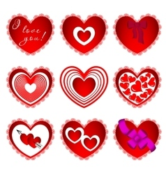 nine hearts in different design vector image