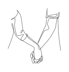 one line drawing two adult hands holding each vector image