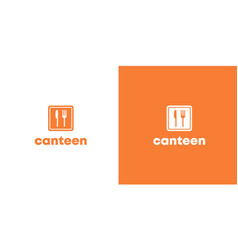 Orange flat canteen logo with spoon and fork vector