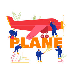 Plane maintenance and repair concept group vector