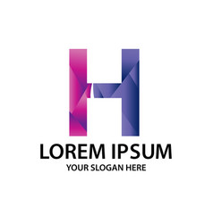 Polygonal initial h with logo vector