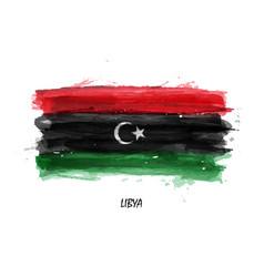 Realistic watercolor painting flag libya vector