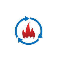 refresh and fire logo icon design template vector image