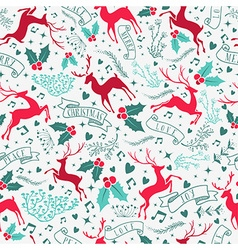 Retro christmas deer decoration seamless pattern vector image