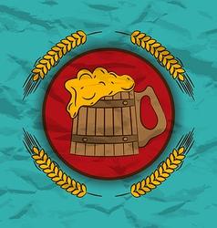 Retro poster wooden mug beer and wheats vector