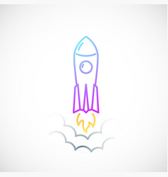 Rocket simple icon with flame and smoke colored vector