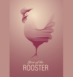 rooster red lines vector image