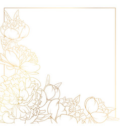 Rose peony flowers border frame corner bright gold vector