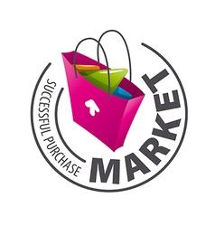 Round logo shopping bag vector