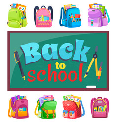 Schoolchalkboard and schoolbags stationery tools vector