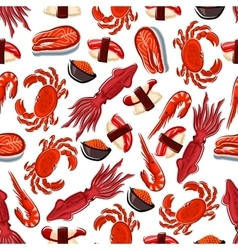 Seamless fish sushi and crustaceans pattern vector image