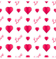 Seamless pattern of paper hearts and text idea vector