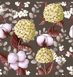 seamless pattern with hydrangea cotton flowers vector image