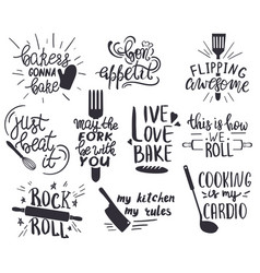 set hand drawn funny sayings for kitchen or vector image