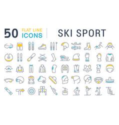 Set line icons ski sport vector