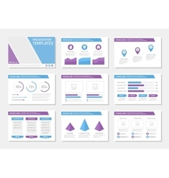 Set of blue and violet template for multipurpose vector