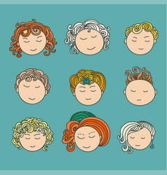 set of nine different cute hand drawn faces vector image