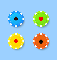 Set of playing chips from the casino on a blue vector