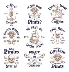 Set vintage hand drawn pirates designed emblems vector