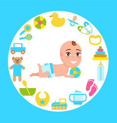 smiling baby infant in diaper playing color ball vector image