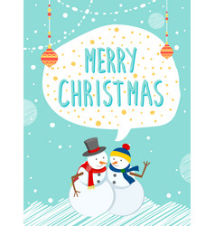 snowmen outside holiday caption merry christmas vector image